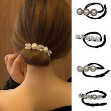 Fashion Flower Pearl Hairpin Bun Maker Twist Headband Lazy Hair Accessories US