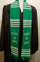 Class of 2019 Graduation Kente Cloth Stole, Green with White