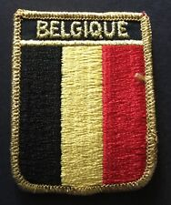 "Belgium Belgique Flag Shield Embroidered Patch 2 1/2"" X 3"" Iron on Biker"
