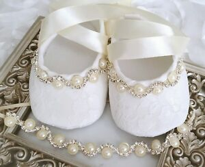 Baby Girl Ivory Christening Shoes Baptism Party Pearls Rhinestones Headband Set