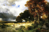 "Oil Thomas Moran - Autumn, Peconic Bay, Long Island with walker in landscape 36"""