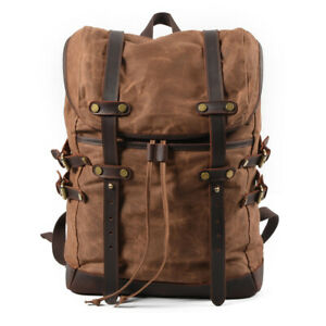 Waterproof Men's Canvas Backpack Bag Outdoor Travel Camping Student Book Casual