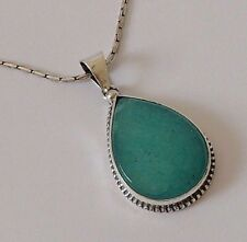 925 STERLING SILVER CHUNKY TEARDROP GREEN TURQUOISE PENDANT