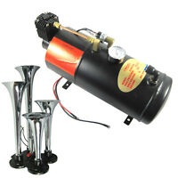 New Air Compressor 150 PSI 3 Liter 12V With 4 Trumpet Chrome Train Air Horn