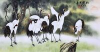 Crane birds lover&Pine-ORIENTAL ASIA FINE ART CHINESE WATERCOLOR PAINTING