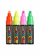 Uni Posca PC-8K Paint Marker Pens Fluorescent Set - 1x Pink/Yellow/Orange/Green