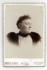 """1890s Cabinet Photo Spacey woman in Velvet Dress Smedley & White NYC 4.25""""x6.5"""""""