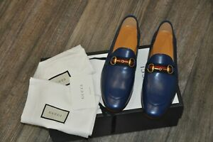 Authentic New Men's Gucci Blue Leather Horsebit Loafer with Web,7G/US7.5