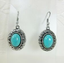 "Cabs Antiqued Dangle 1.75"" Earrings New Boho Oval Silver tone Swirl Turquoise"