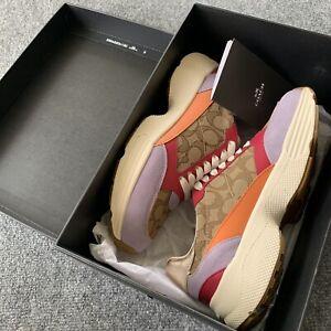 Authentic Coach Women's Signature Jacquard Logo C152 Tech Runner Sneakers Size 9