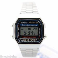 Casio A168WA-1W Digital Alarm Stainless Steel Illuminator Vintage Watch A168WA-1