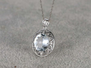 14k White Gold Finish 1.5 ct Aquamarine Pendant Necklace With Chain 925 Silver