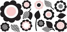 FLOWERS Wall Decals PINK Black Room Decor Stickers Decorations Polka Dot 99753