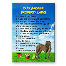 Bullmastiff Property Laws Magnet No 2 Steel Cased Dog