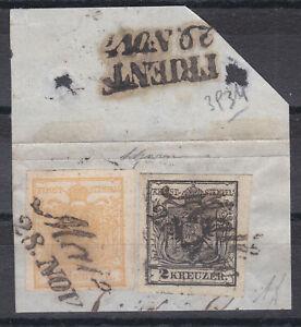 Ö 1850 Nr. 1 und Nr. 2 auf TOP Briefstück