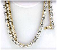 "7.20 ct Round Diamond Tennis Necklace 14k Yellow Gold, 146 x .05 ct, 16"" #10"