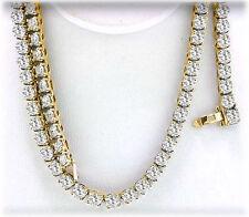 "8 carat Round Diamond Tennis Necklace 14k Yellow Gold, 157 x .05 ct 17"" long"