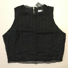 Abercrombie & Fitch Crop Top Women's Mixed Lace Cropped Cami Blouse S Black NWT
