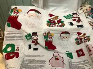 Christmas Applique Fabric Panel Santa Teddy Snowman Etc Cranston