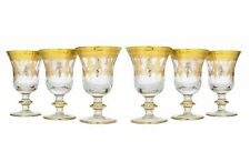 Set of 6 Interglass Italy Crystal Glasses - 24K Gold Clear Italian Wine Goblets
