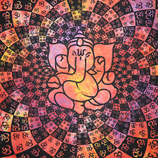 Couverture indienne Tenture Ganesha Om rouge 225x210cm