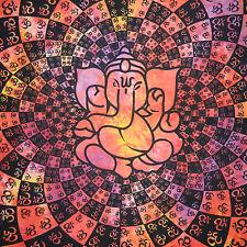 Couverture indienne Tenture Ganesha Om rouge 225x210cm