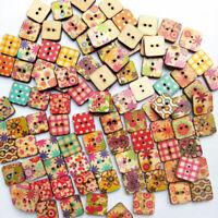 Mix Wood Button Buttons Heart Star Square 2 Holes Patchwork Q3A6 knö Childr A1K9