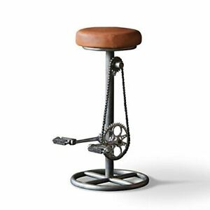 Pedal Bar Stool Plain Seat Industrial Style Seating Quirky Unique Home Furniture