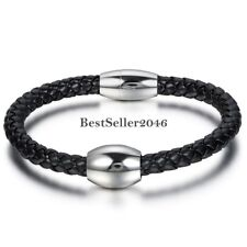 Mens Black Leather Braided Stainless Steel Magnetic Clasp Bracelet Bangle Cuff