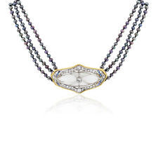 14k Gold 1.50ctw Diamond Tahitian Pearl and Sapphire Necklace