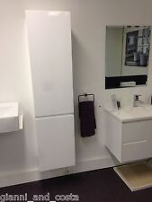 BATHROOM WALL HUNG TALL BOY CABINET WHITE GLOSS POLYURETHANE FINISH MODEL HADI
