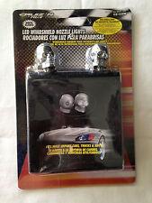 2x Chrome Skull Universal Windshield Washer Spray Nozzle White LED fits Acura