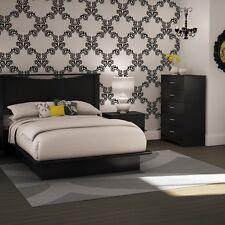 Black 4 Piece Queen Platform Headboard Bed Collection Set Home Bedroom Furniture