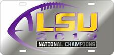 LSU 2019 National Champ Silver Laser Engraved Mirrored License Plate / Car Tag