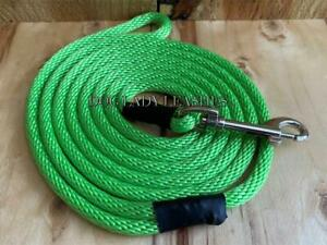 """SMALL DOG SWIVEL SNAP LEASH-UP TO 25 LBS--1/4"""" X 6' LONG-LIME GREEN NEW-  (136)"""