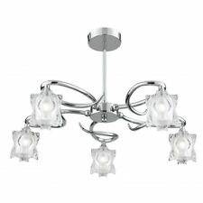 Searchlight 'Murano' 3285-5cc. 5 Light Frosted Glass Ceiling Chandelier.