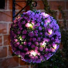 Solar Powered 20 Led Lights Hanging Purple Rose Topiary Ball Dual Function 28cm