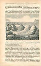 Tombes Paganisme nordique Gamla Uppsala Upsal Suède GRAVURE ANTIQUE  PRINT 1838