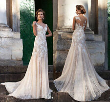 Lace Boat Neck Sleeveless Tulle Wedding Dresses