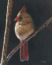 Giclée Fine Art Print of original oil painting female Cardinal, bird 8X10''