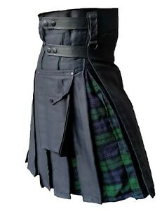 Men's Hybrid Leather Straps, Black Cotton with Black-watch Tartan Utility Kilt