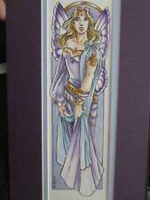 Violet Faerie Watercolor Picture By Heather Bruton, Double Matted-6x12 Inches