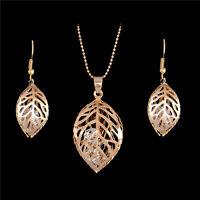 Leaf shape 18k Gold Plated Rhinestone Jewelry sets necklace/earrings wedding
