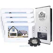 HOMSECUR 4-Unit Video Door Intercom with Lock Release & RFID Keyfob & IR Camera