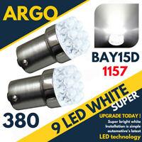 2x 9 LED Bulbs White 1156 380 R10W 382 BA15s For Brake Tail Indicator bulbs 12v