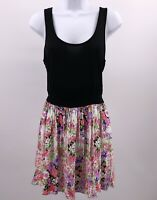 Black Top Floral Skirt Sleeveless Dress Decapolis Sz S Back Exposed Zipper