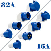 BLUE IP44 240V 16/32 AMP 3 PIN INDUSTRIAL SITE PLUG or SOCKETS Industrial Use US