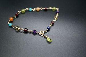 14k Gold-filled Multi-Gemstone Bracelet 7'' Handmade Citrine Amethyst Peridot