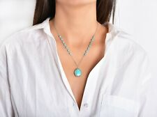 Sterling Silver Genuine Beaded Turquoise Teardrop Necklace