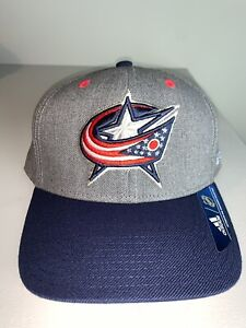 Men's Adidas Columbus Blue Jackets Gray & Navy Blue NHL Hockey Snapback Hat NWT